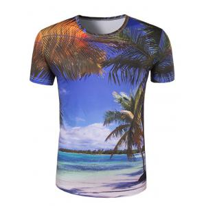 Slim Fit Round Collar 3D Coconut Palm Printing T-Shirt For Men - Colormix - M