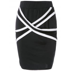 Stylish Criss-Cross Bodycon Skirt For Women - Black - L