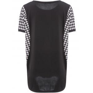 Stylish Scoop Neck Dolman Sleeve Houndstooth T-Shirt For Women - BLACK L