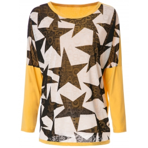 Stylish Scoop Neck Long Sleeve Spliced Star Printed Women's T-Shirt - Yellow And Black - Xl