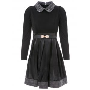 Collared Long Sleeve Dress with Belt - Black - M