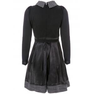Collared Long Sleeve Dress with Belt - BLACK M