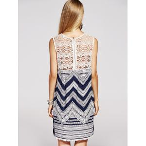 Refreshing Lace Spliced Geometric Print Sleeveless Dress For Women -