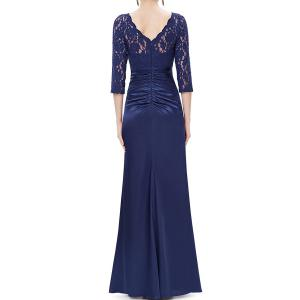 Lace Splicing Maxi Evening Gown Prom Dress -