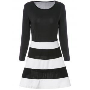 Color Block Striped Long Sleeve Dress