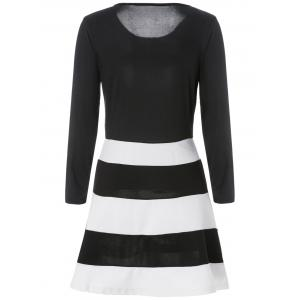 Simple Scoop Neck manches longues Color Block Striped femmes s 'Dress - Blanc et Noir S