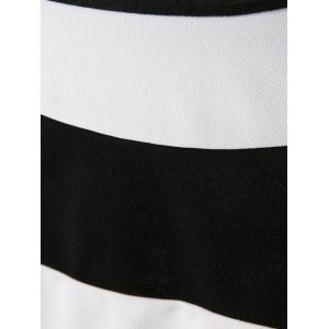Simple Scoop Neck manches longues Color Block Striped femmes s 'Dress - Blanc et Noir M