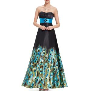 Strapless Peacock Print Maxi Prom Dress -