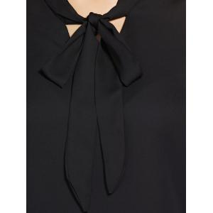 Fashionable Long Sleeve Bowknot Tie Solid Color Women's Blouse -