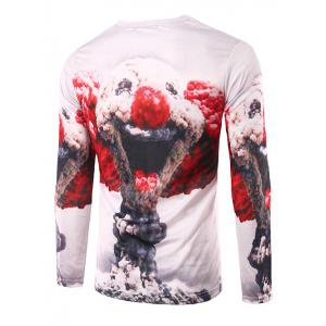 Slim Fit Round Collar Mushroom Cloud Printing T-Shirt For Men - COLORMIX XL