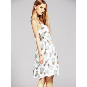 Stylish Women's V Neck Hollow Out Pineapple Print Dress -