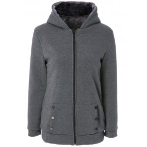 Stylish Long Sleeves Solid Color Zippered Flocking Hoodie For Women