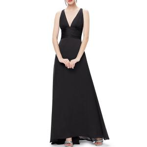 Plunge Ball Gown Long Formal Dress -