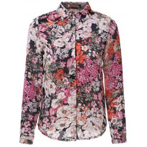 Vintage Shirt Collar Long Sleeve Printed Chiffon Single-Breasted Women's Shirt