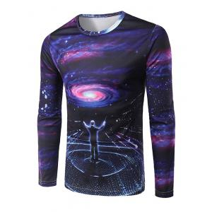 Slim Fit Round Collar Commander Printing T-Shirt For Men