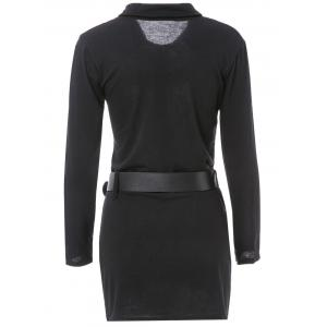 Simple Turn-Down Collar Long Sleeve Solid Color Button Design With Belt Women's Dress -