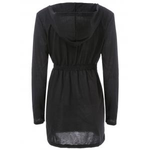 Stylish Hooded Long Sleeve Solid Color Zippered Bodycon Women's Coat - BLACK M