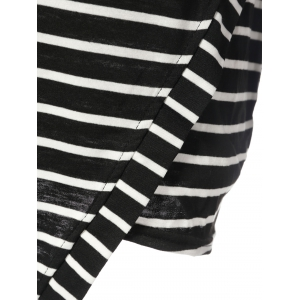 Simple Round Neck Long Sleeve Bodycon Striped Women's Dress - STRIPE 2XL