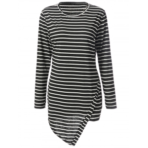 Simple Round Neck Long Sleeve Bodycon Striped Women's Dress - Stripe - 2xl