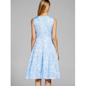 Chic V-Neck Sleeveless Floral Print Fit and Flare Dress For Women - LIGHT BLUE XL