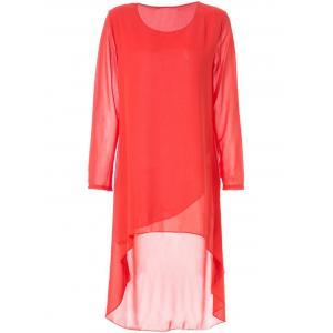 Simple Round Neck Long Sleeve Solid Color Chiffon Women's Dress