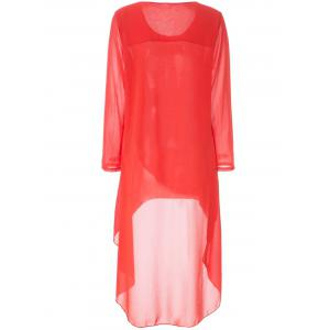 Simple Round Neck Long Sleeve Solid Color Chiffon Women's Dress - ORANGE XL