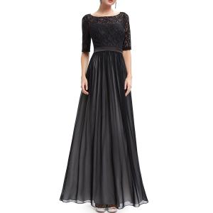 Lace Splicing Backless Prom Dress -