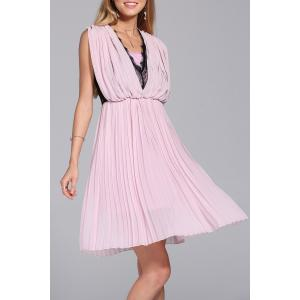 Lace Splice Pleated Faux Twinset Dress -