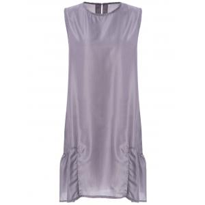 Stylish Scoop Neck Sleeveless Loose-Fitting Pocket Design Women's Dress