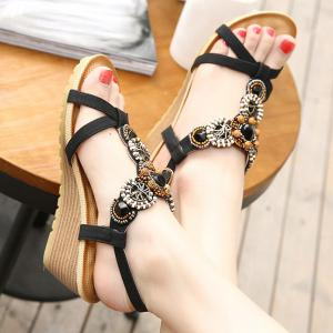 T-Strap Beaded Wedge Sandals - BLACK 39