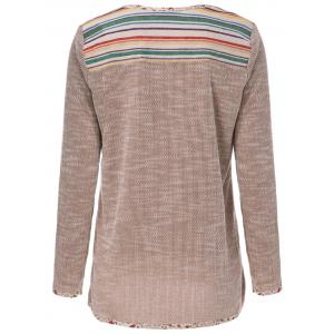 Casual Scoop Neck Long Sleeve Patch Design Slimming Women's T-Shirt -