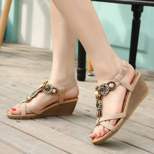 Beaded T-Strap Bohemian Style Wedge Sandals -