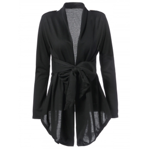 Stylish Turn-Down Collar Long Sleeve Solid Color Asymmetrical Women's Coat - Black - One Size(fit Size Xs To M)