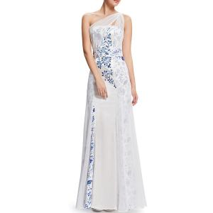 One-Shoulder Printed Maxi Prom Dress -
