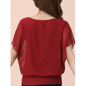 Batwing Sleeves Flowing Chiffon Top - RED XL