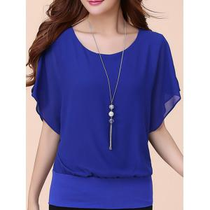 Batwing Sleeves Flowing Chiffon Top - Blue - L