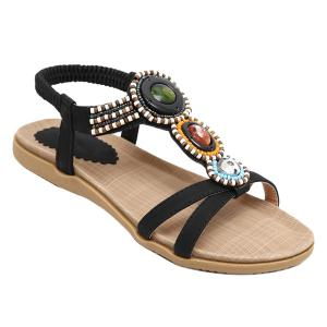 Beaded T-Strap Bohemian Style Flat Sandals - Black - 39