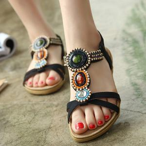 Beaded T-Strap Bohemian Style Flat Sandals -