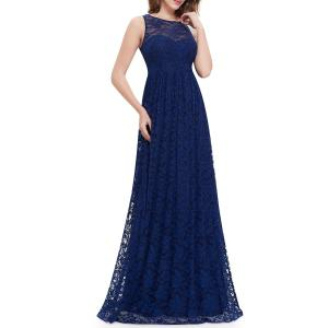 Lace High Waisted Maxi Evening Dress -