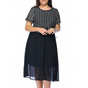 Plus Size Striped Tea Length Flowy Dress