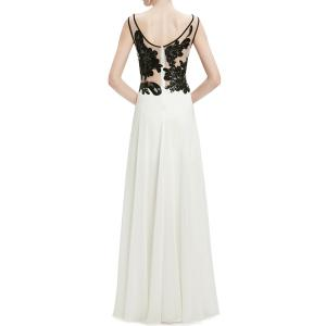 Scoop Neck Sequined Lace Splicing Maxi Prom Dress -