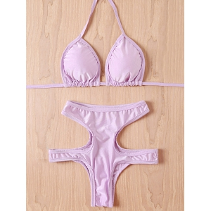 Sexy Halter Solid Color Lace-Up High-Waisted Cut Out Women's Bikini Set - Purple - M