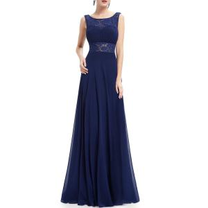 Backless Pleated Maxi Prom Dress -