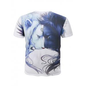 Round Neck 3D Symmetrical Lions Print Short Sleeve T-Shirt For Men -
