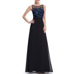 Sequined Sleeveless Maxi Prom Dress -