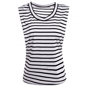 Sexy Scoop Collar Sleeveless Striped Women's T-Shirt