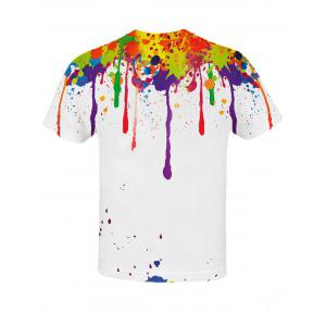 3D Colorful Splatter Paint Pattern T-Shirt - COLORMIX 2XL
