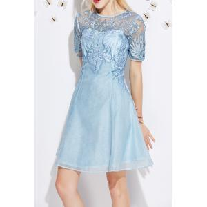 Embroidered See Thru Mini  Dress -