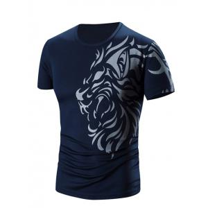 Round Neck Printed Short Sleeve T-Shirt For Men - Cadetblue - 3xl