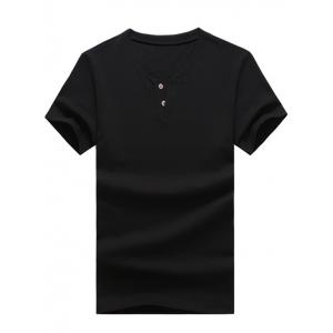 Slimming Button Design Solid Color T-Shirt For Men